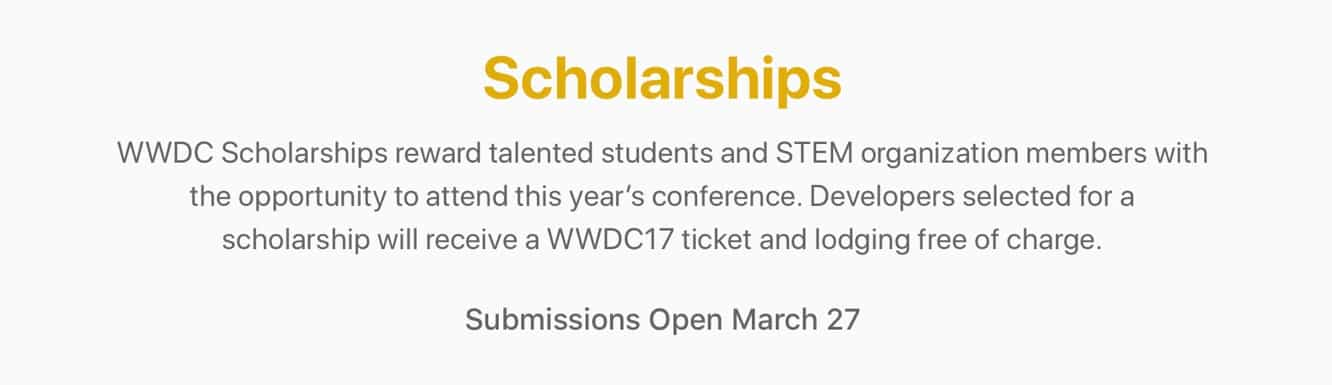 Apple to open WWDC Scholarship applications on Mar. 27
