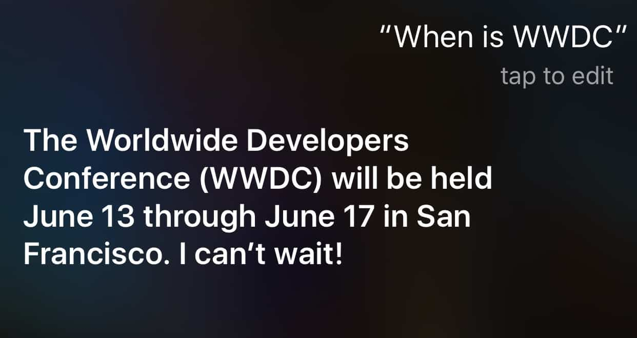 Siri announces WWDC to be held June 13-17