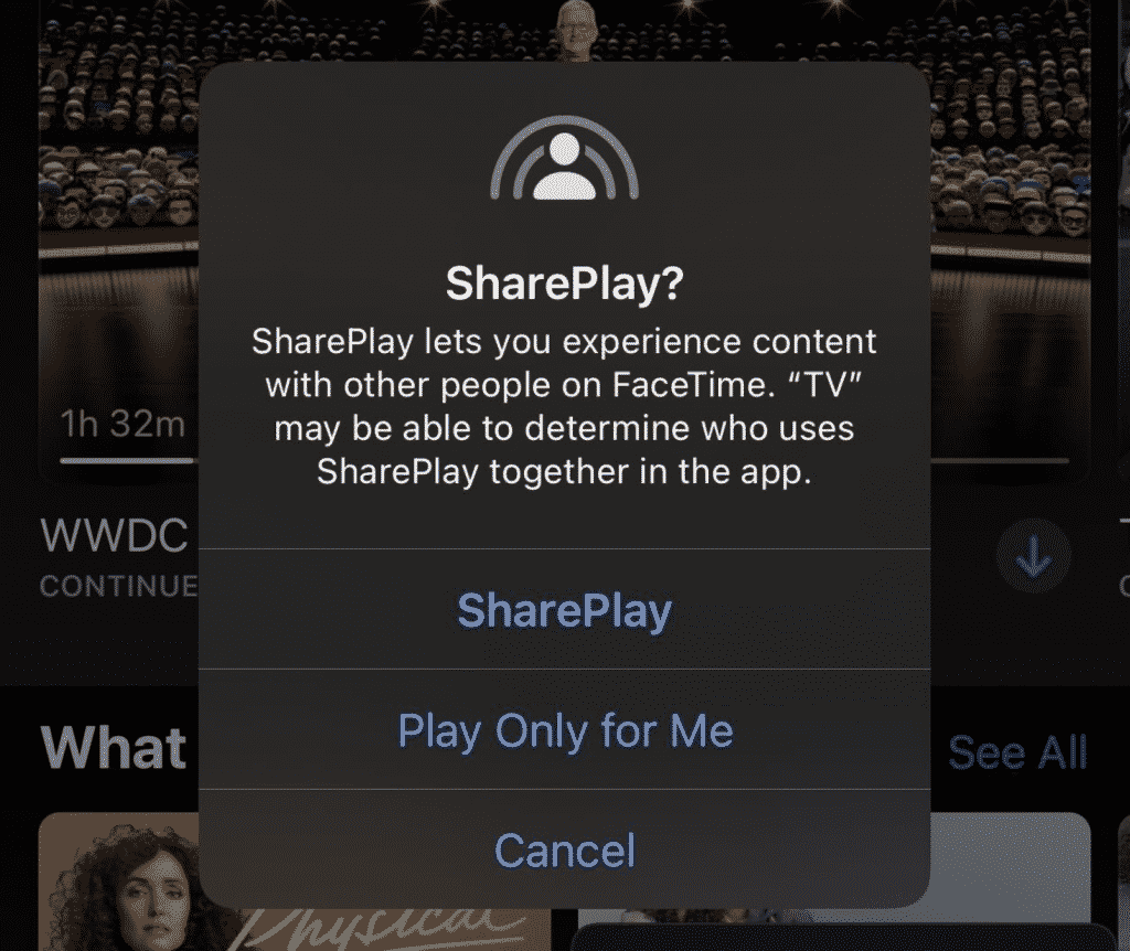 FaceTime SharePlay feature